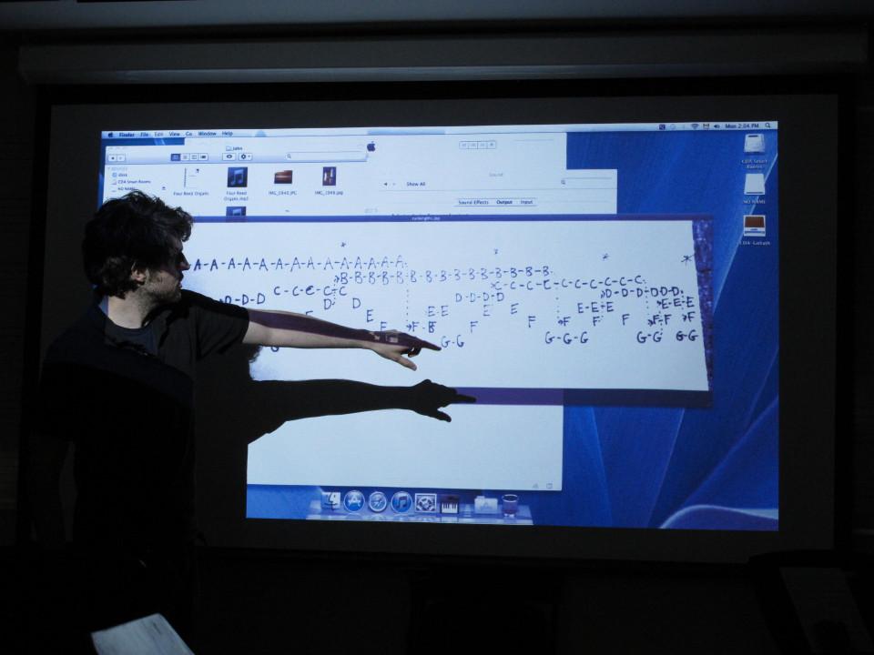Composer's Kitchen 2012 avec John Lely [Photo: Caroline de la Motte, avril 2012]
