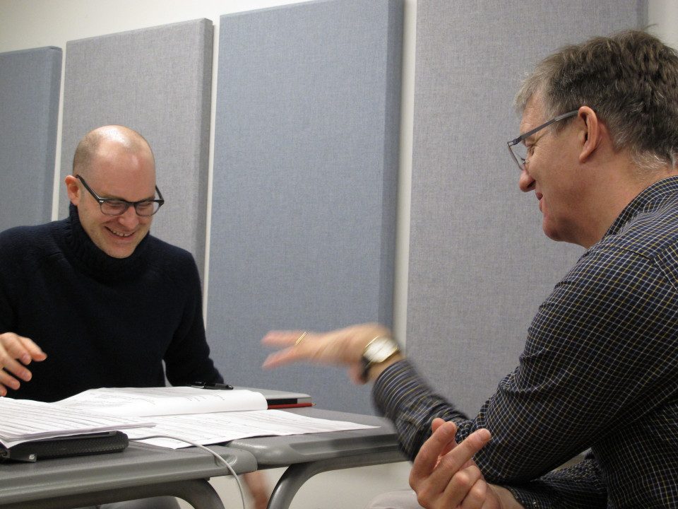 Composer's Kitchen 2012 avec Pierre Michaud et Christopher Fox [Photo: Caroline de la Motte, avril 2012]