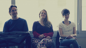 Composer's Kitchen 2013 avec Michael Oesterle, Amber Priestley et Marielle Groven [Photo: Lianne Finnie, Montréal (Québec), avril 2013]