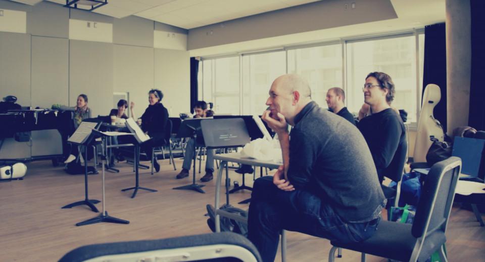 Composer's Kitchen 2013 with Laurence Crane and Michael Oesterle [Photograph: Lianne Finnie, Montréal (Québec), April 2013]