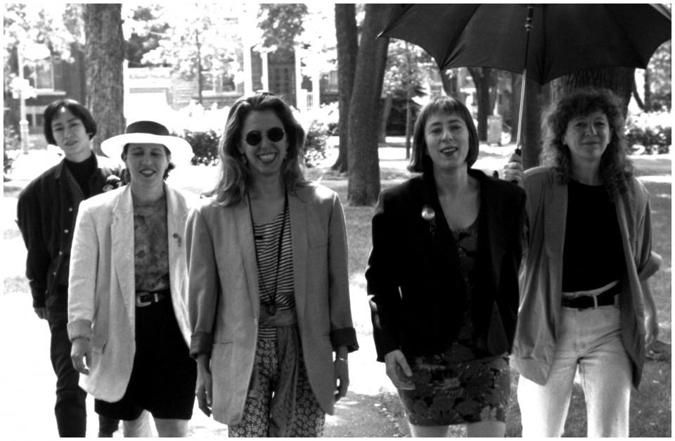 Tenko; Joane Hétu; Zeena Parkins; Diane Labrosse; Danielle Palardy Roger [Photo: Jacques Leduc, Montréal (Québec), November 1990]