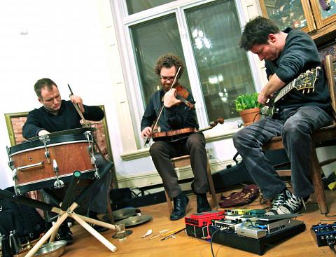 The group Subtle Lip Can from left to right: Bernard Falaise; Isaiah Ceccarelli; Joshua Zubot [Photograph: Chrissy Cheung, Montréal (Québec), June 1, 2012]