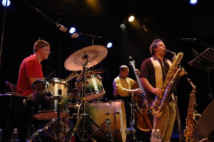 Trio Derome Guilbeault Tanguay, Jean Derome, Normand Guilbeault, Pierre Tanguay [Photo: Pierre Crépô, Montréal (Québec), June 29, 2006]