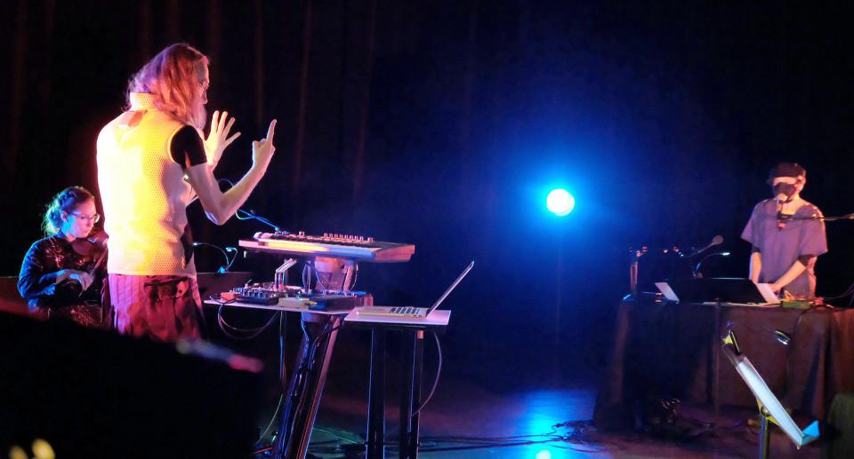 Geneviève Liboiron, Vergil Sharkya', Sarah Albu [Photograph: Céline Côté, Montréal (Québec), February 8, 2021]