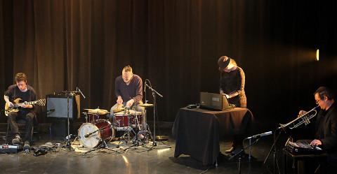 Bernard Falaise, Michel F Côté, Émilie Mouchous, Craig Pedersen / Concert [Photograph: Céline Côté, Montréal (Québec), April 21, 2021]