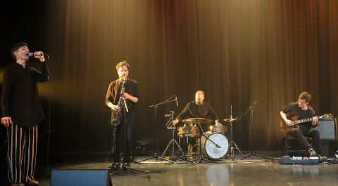 Susanna Hood, Philippe Lauzier, Pierre-Yves Martel, Bernard Falaise / Concert [Photograph: Céline Côté, Montréal (Québec), April 21, 2021]