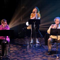 Cléo Palacio-Quintin, Émilie Fortin, Jean Derome / Concert [Photograph: Céline Côté, Montréal (Québec), April 21, 2021]