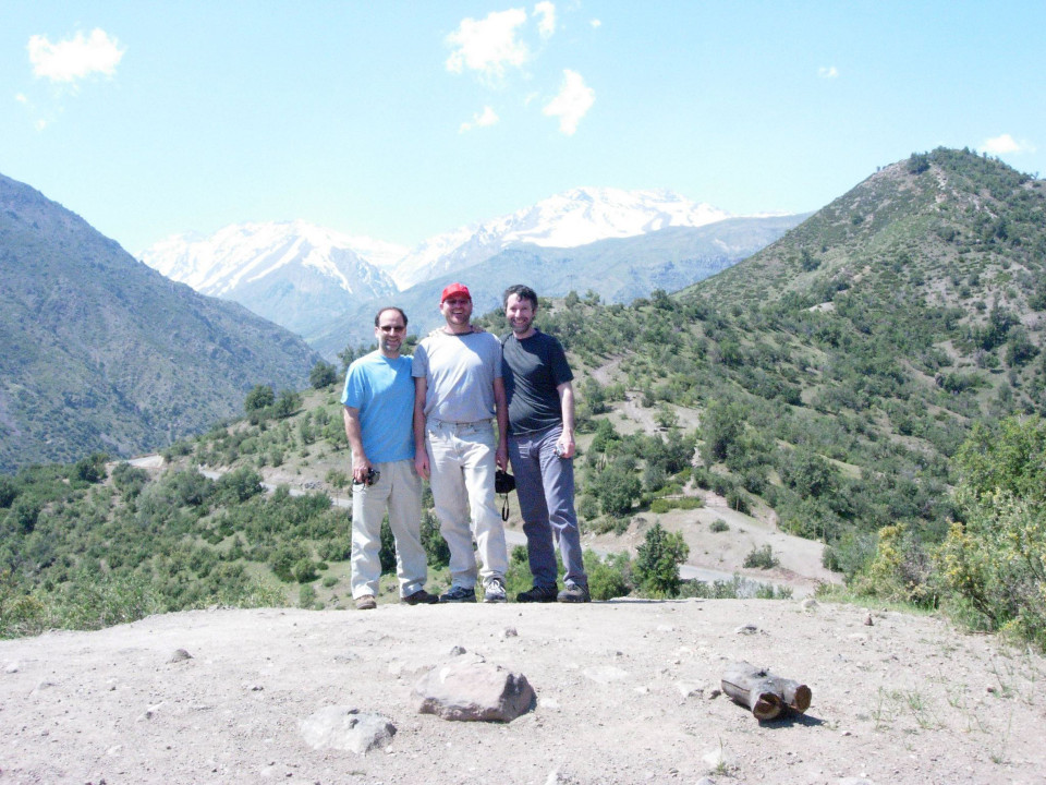 In the Andes, near Santiago (Chile). Left to right: John Young, Paul Rudy, Raúl Minsburg [October 2006]