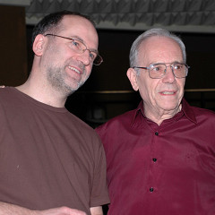 """John Young with Enrique Belloc during a rehearsal of an """"Akousma"""" concert as part of the Ina-GRM´s Multiphonies series at Salle Olivier Messiaen — Maison de Radio France [Paris (France), April 12, 2008]"""